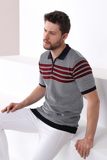 Ferraro Erkek Lacivert Polo Yaka Fermuarlı Pamuk Triko T-shirt