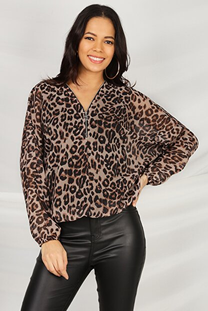 Select Moda Kadın Leopar Desen V Yaka Beli Lastikli Bluz