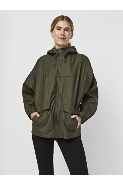 Vero Moda Kadın Yeşil Kapüşonlu Yağmurluk