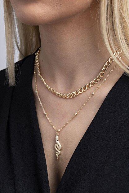 X-Lady Accessories Kadın Altın Rengi Yılan Figürlü Kombin Kolye 087
