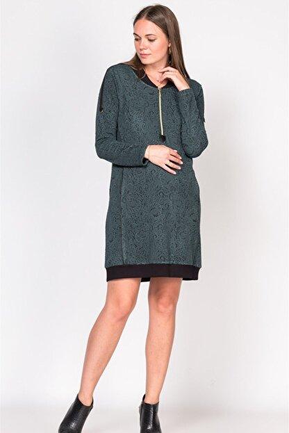 BUSA Kadın Yeşil Fermuarlı Desenli Hamile Günlük Elbise