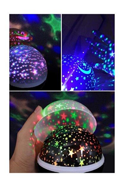 Patladı Gitti Renkli Ve Dönen Star Master Projeksiyon Gece Lambası Siyah