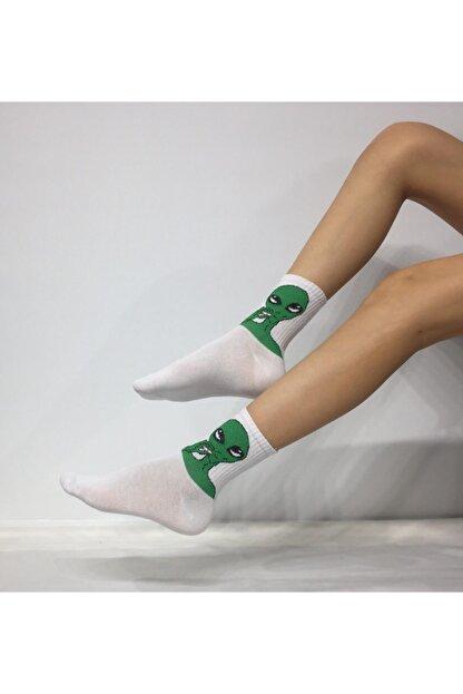 Adel Unisex Penye Uzaylı Desenli Kolej Çorabı