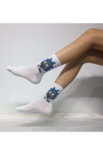 Adel Unisex Penye Rick Desenli Kolej Çorabı