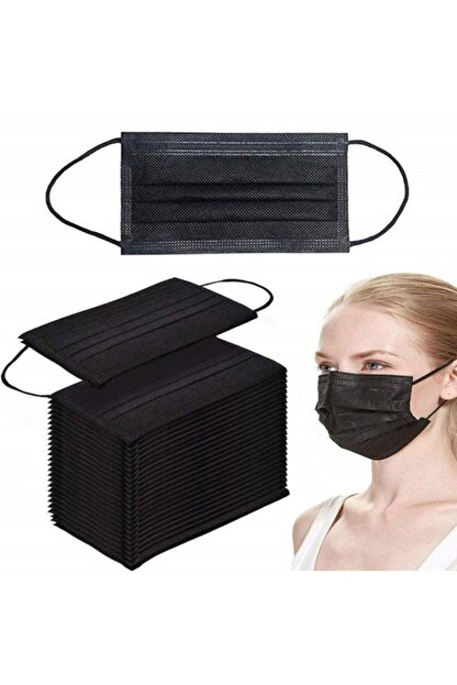 Commando 50 Adet Siyah Tek Kullanımlık Lastikli Telli 3 Katlı Cerrahi Koruyucu Yüz Maskesi