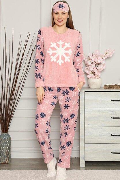 Pijamaevi Kadın Pembe Kartanesi Desenli  Peluş Pijama Takımı