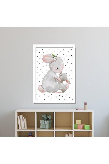 SUNNYFUNNYKIDS Bebek Çocuk Odası Tablo Tavşan 1 Adet 21x30 Cm Çerçeveli Tablo Sfktek26
