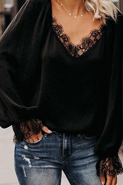 BLACK&GRACE Kadın Siyah Dokuma Krep Dantel Detaylı Bluz