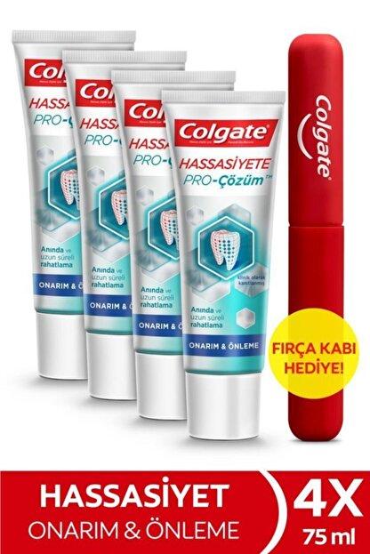 Colgate Hassasiyete Pro Çözüm Onarım ve Önleme Diş Macunu 75 ml x 4 Adet + Fırça Kabı Hediye