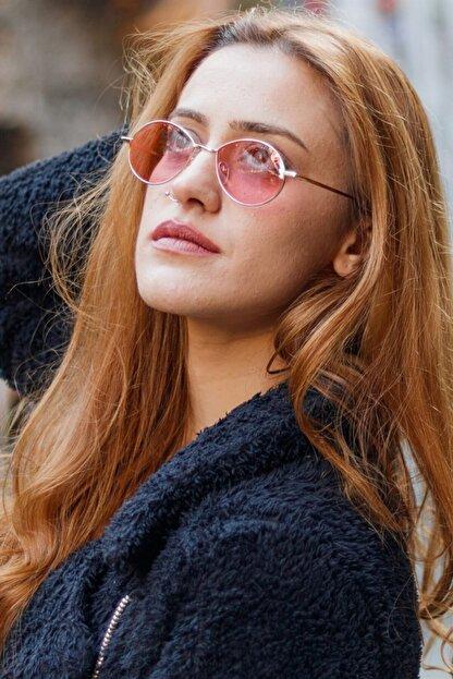 Retro Kadın Pembe Küçük Yuvarlak Su Damlası Uv 400 Güneş Gözlüğü