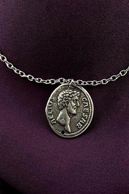 MOONİ ACCESSORİES Antik Roma Madalyon Mat Gümüş Kaplama Zincir Kolye