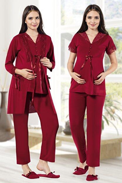 MODAREYA Sabahlıklı Kısa Kollu Lohusa Hamile Üçlü Pijama Takımı