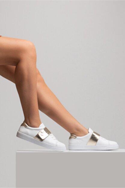 GRADA Kadın Beyaz Hakiki Deri Önden Tek Bantlı Sneaker Ayakkabı