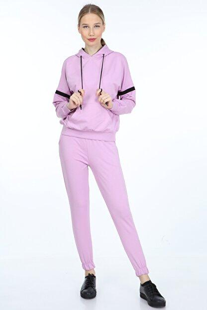 İng drop Kadın Mor Kapüşonlu Eşofman Takımı 7 Renk M2