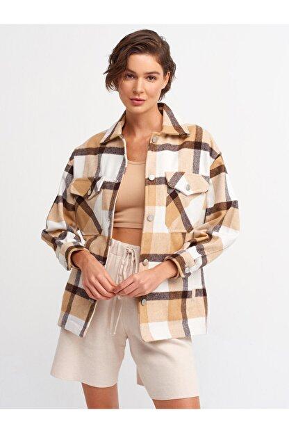 Dilvin Kadın Kahverengi Oduncu Gömlek 5688