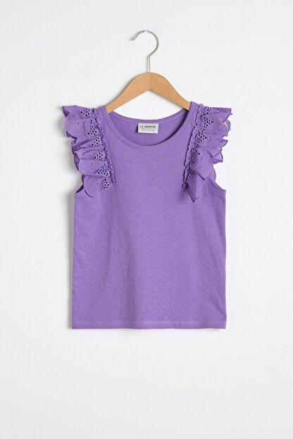 LC Waikiki Kız Çocuk Mor Fırfır Detaylı T-Shirt