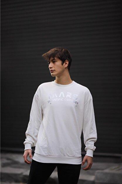 ILLUPION Unisex Beyaz Mars Baskılı Sweatshirt
