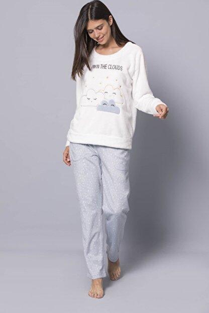 MONAMİSE Kadın 19269 Polar Pijama Takımı Beyaz