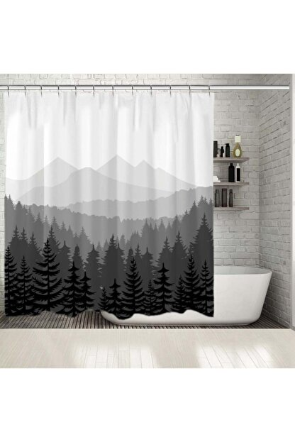Henge Home Baskılı Duş Perde Orman Çam Desenli Dağ Siyah Beyaz Gri