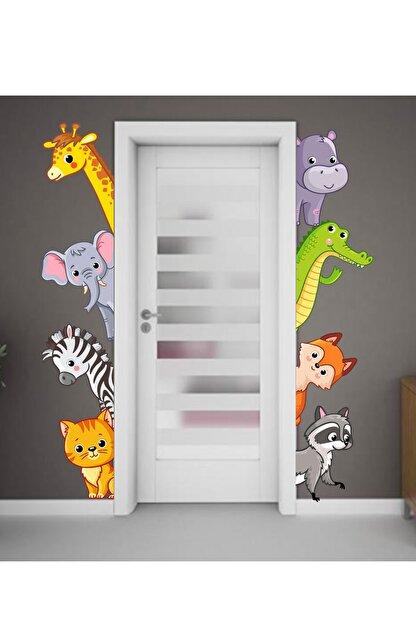 Sim Tasarım Sevimli Hayvanlar Kapı, Dolap Ve Duvar Sticker Seti
