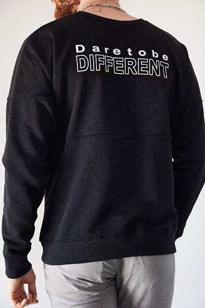 XHAN Erkek Antrasit Sırtı Different Baskılı Sweatshirt 1kxe8-44228-36