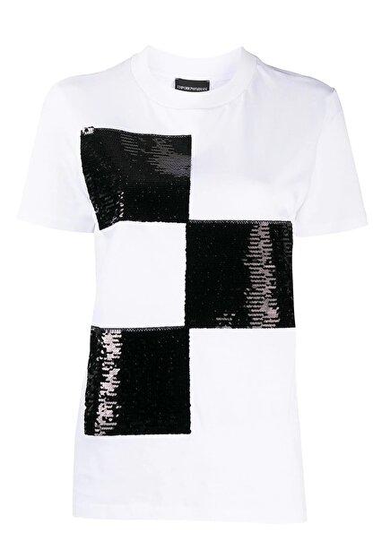 Emporio Armani Kadın Beyaz Baskılı Bisiklet Yaka Pamuklu T-Shirt 6h2t7y 2j53z 0100