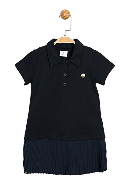 Panolino Kız Çocuk Lacivert Pike Kumaş Pilise Elbise