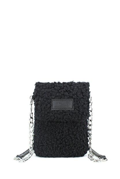 Housebags Peluş Omuz Askılı Siyah Cep Telefonu Çantası 199