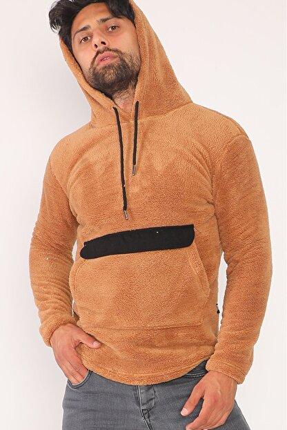 sedtu Unisex Kahverengi Kanguru Cepli Kapüşonlu Peluş Sweatshirt