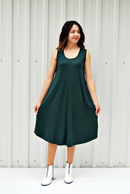 MGS LİFE Kadın Petrol Yeşili Kolsuz Düz Renk Çan Etek Elbise