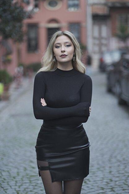Melsa Official Kadın Siyah Toka Detay Deri Etek