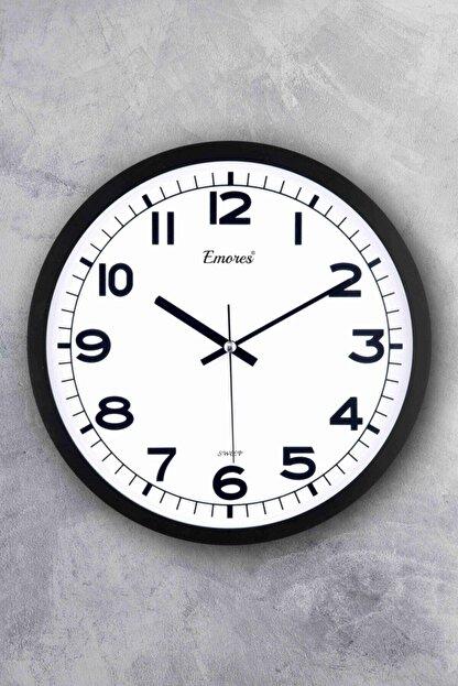 EMORES Beyaz Gerçek Cam Sessiz Mekanizma Duvar Saati 31 cm
