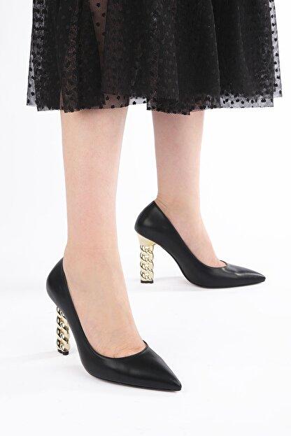 Marjin Kadın Stiletto Topuklu Ayakkabı Dukinsiyah