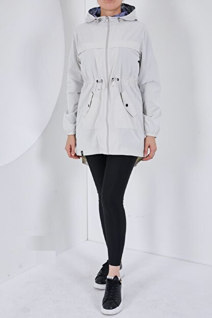 Escetic Kadın Ekru Yağmurluk Ceket