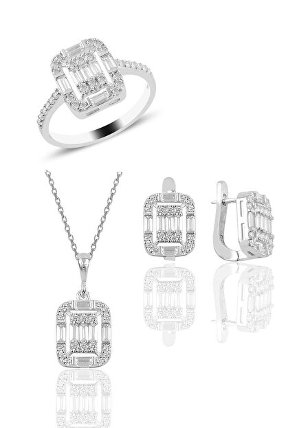Söğütlü Silver Gümüş Rodyumlu Gümüş Baget Taşlı Üçlü Set