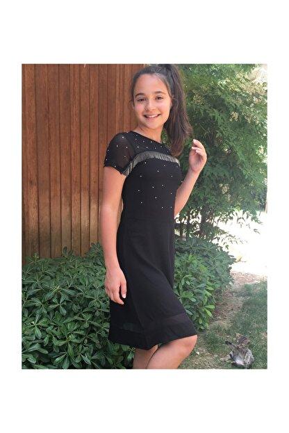 Kuspi Beyaz Zincirli Tasli Elbise Siyah Trendyol