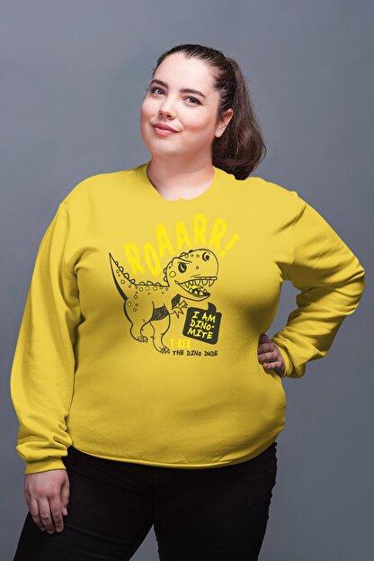 Angemiel Wear Trex Dinozor Sarı Kadın Sweatshirt