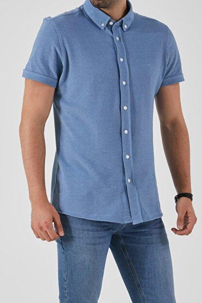 Ltb Erkek  Mavi  Kısa Kol Klasik  Gömlek 012208423760890000
