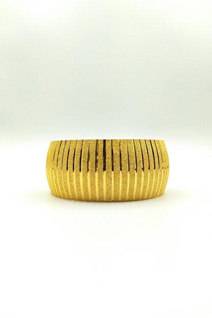 Alzey Gold İmitasyon Altın Kaplama 3cm Çizgi Desen Kadın Bilezik