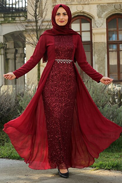 Feiza Collection Kadın Payet Detaylı Tesettür Abiye Elbise - Bordo