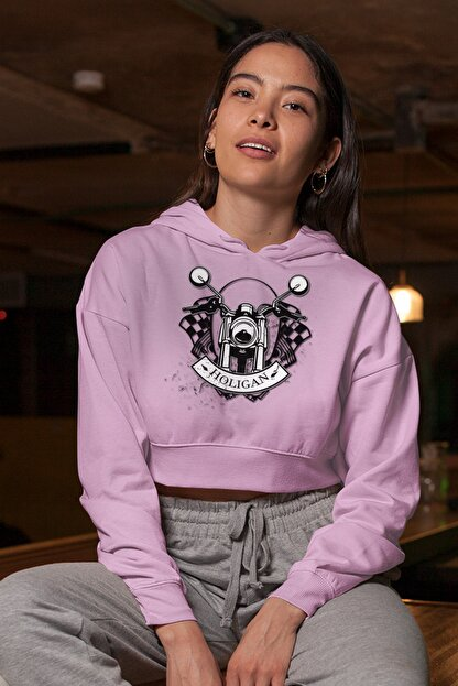 Angemiel Wear Holigan Pembe Kısa Kapüşonlu Sweatshirt