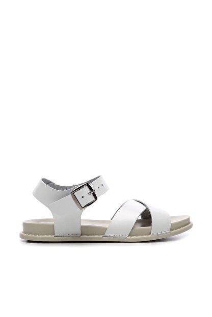 Kemal Tanca Hakiki Deri Beyaz Kadın Sandalet Sandalet 539 1308 BN SNDLT Y20