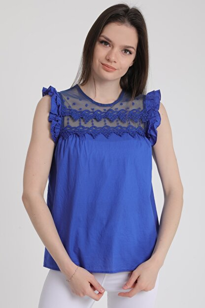 MD trend Kadın Saks Omuz Fırfırlı Sıfır Kol Dantelli Bluz Mdt5464