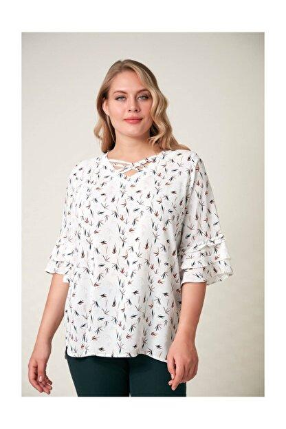 Rmg Kadın Beyaz Fırfır Detaylı Büyük Beden Bluz