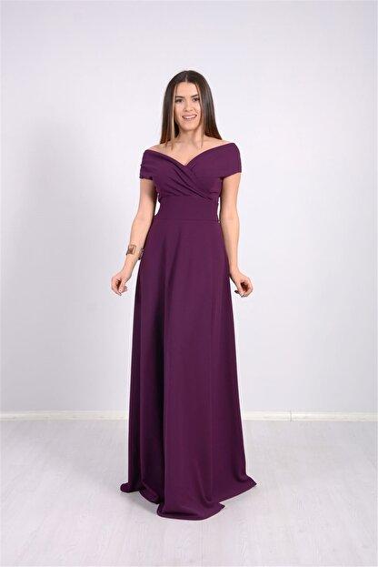 giyimmasalı Kayık Yaka Kiloş Elbise - Patlıcan Mor