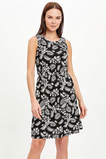 Defacto Kadın Siyah Çiçek Desenli Belden Bağlama Detaylı Örme Elbise M9053AZ.20SM.BK27