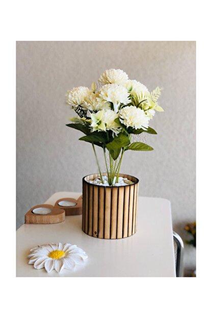 bifra Masif Dekor Ahşap Saksıda Kasımpatı (beyaz Renk) - 30cm