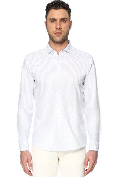 Network Erkek Çizgili Beyaz Mavi Gömlek 1066275