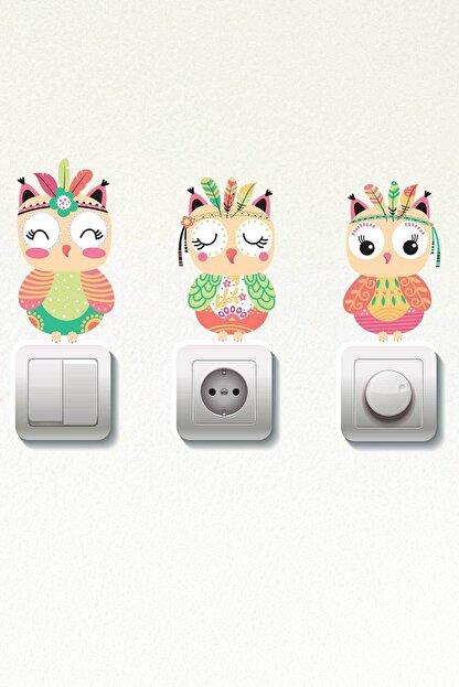 Dekor Loft Pastel Baykuşlar 3 Lü Priz Sticker