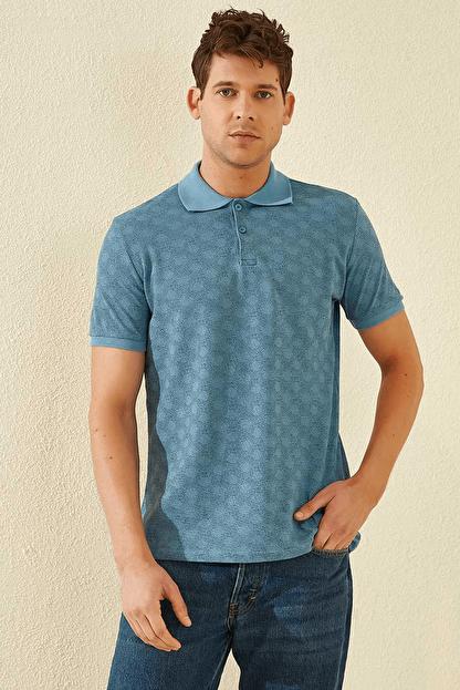 Tommy Life Baskılı Polo Yaka Kirli Mavi Erkek T-Shirt T08ER-87796_1